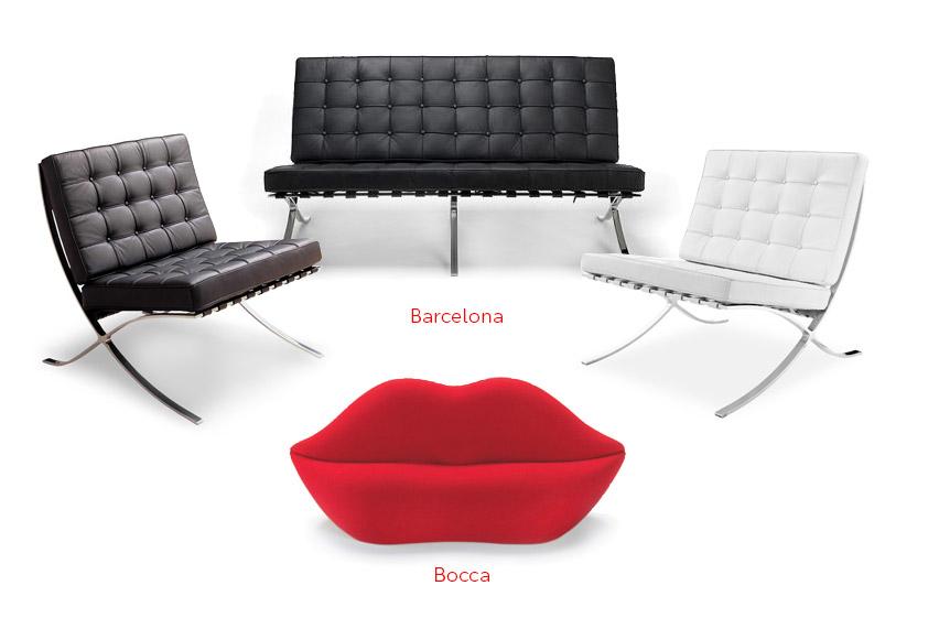 Mobilier Barcelona & Bocca, Sofas 2 places, Fauteuils